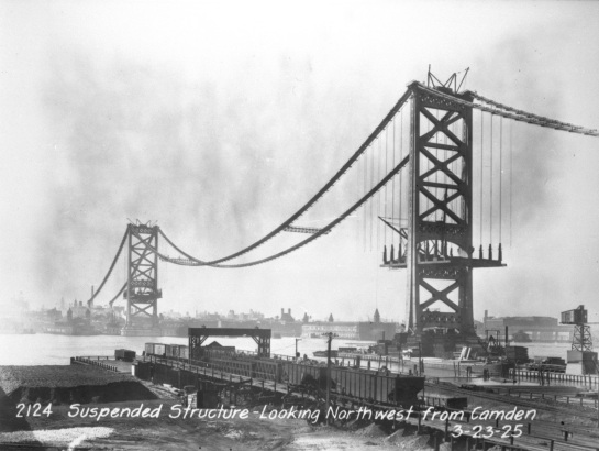 Original photograph of the building of the Benjamin Franklin Bridge by George A. Wonfor